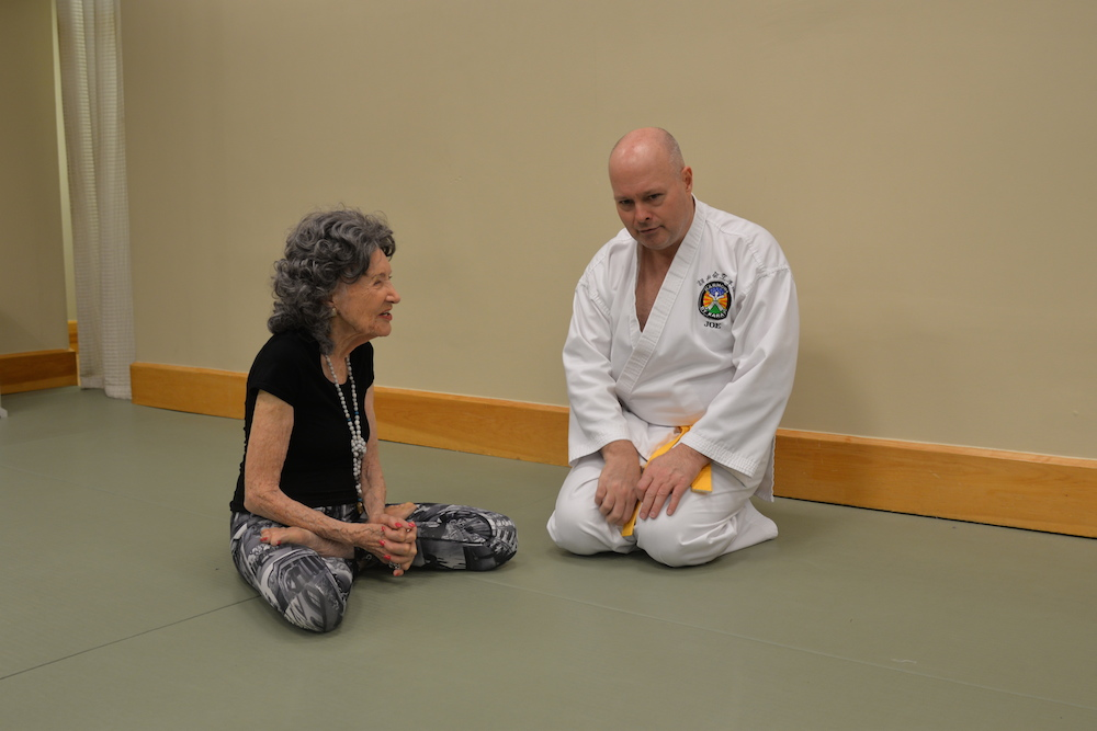96-year-old yoga master Tao Porchon-Lynch teaching at Harmony By Karate