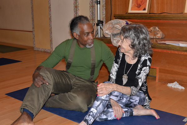 96-year-old yoga master Tao Porchon-Lynch teaching at Integral Yoga Institute