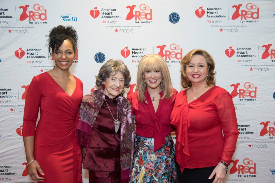 Teresa Kay-Aba Kennedy, 96-year-old Yoga Master Tao Porchon-Lynch, Dr. Suzanne Steinbaum, Agapi Stassinopoulos at the 2015 American Heart Association Go Red Luncheon at the NY Hilton Midtown