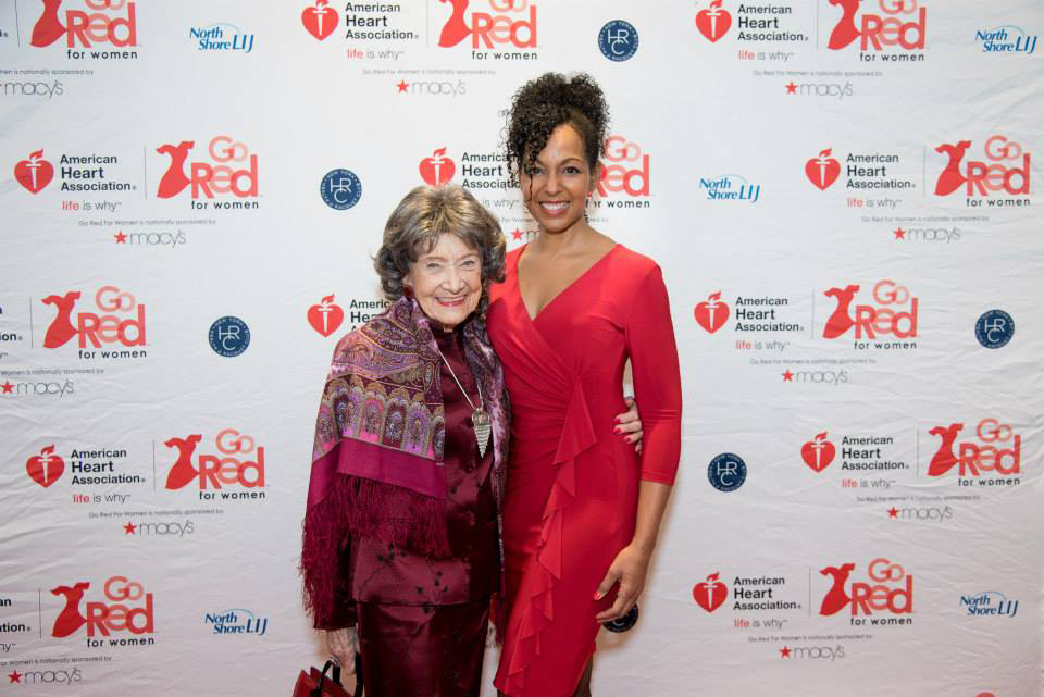 96-year-old Yoga Master Tao Porchon-Lynch and Teresa Kay-Aba Kennedy at the 2015 American Heart Association Go Red Luncheon at the NY Hilton Midtown