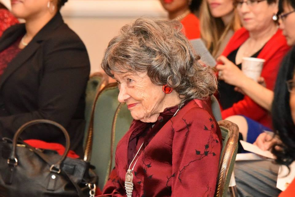 96-year-old Yoga Master Tao Porchon-Lynch at the 2015 American Heart Association Go Red Educational Panel at the NY Hilton Midtown