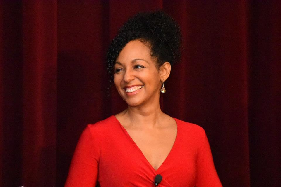 Teresa Kay-Aba Kennedy speaking at the 2015 American Heart Association Go Red Educational Panel at the NY Hilton Midtown