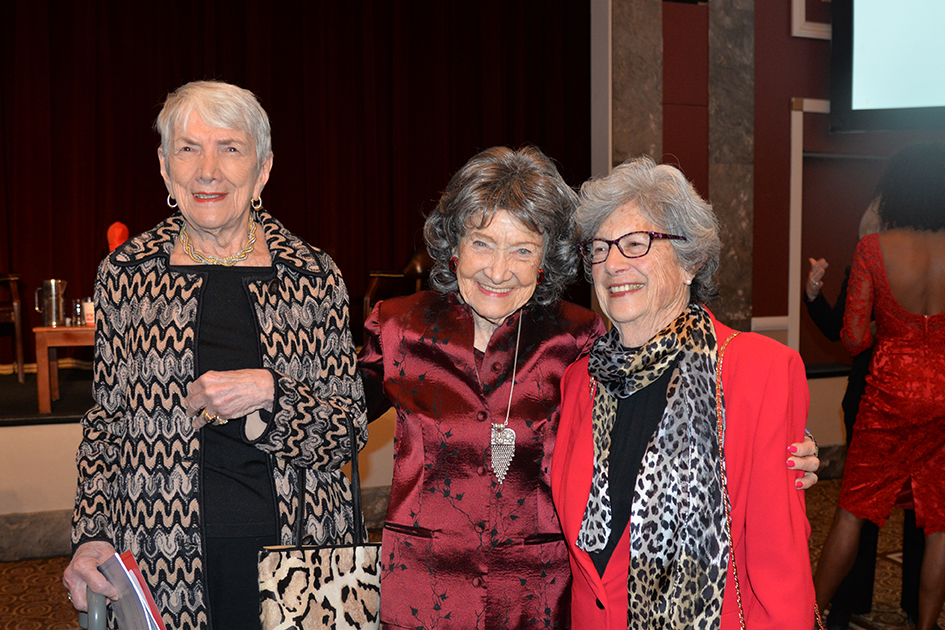96-year-old Tao Porchon-Lynch and other ladies at the 2015 American Heart Association Go Red Luncheon at the NY Hilton Midtow