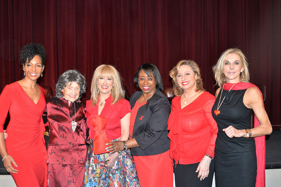 Teresa Kay-Aba Kennedy, 96-year-old Tao Porchon-Lynch, Dr. Suzanne Steinbaum, Dr. Icilma Fergus, Agapi Stassinopoulos, MaryAnn Browning at the 2015 American Heart Association Go Red Luncheon at the NY Hilton Midtown