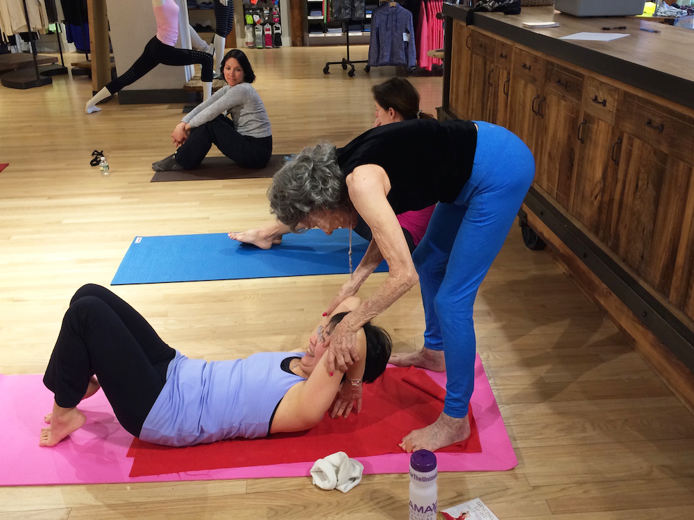 96-year-old Yoga Master Tao Porchon-Lynch teaching at the Athleta Store in Scarsdale