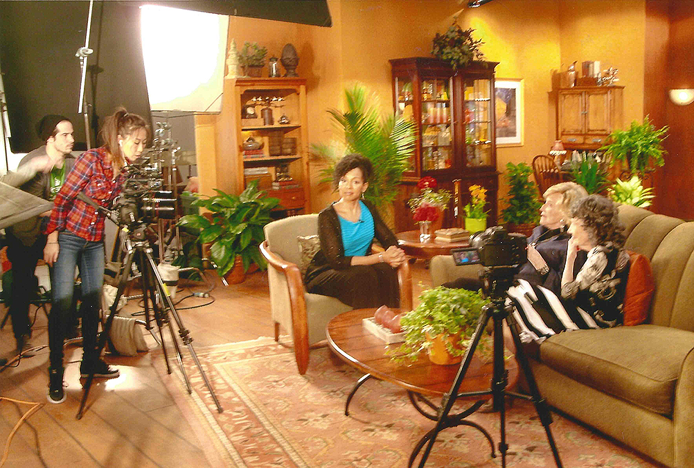 Teresa Kay-Aba Kennedy interviewing 93-year-old TV Host and Philanthropist Suzanne Roberts and 96-year-old Yoga Master Tao Porchon-Lynch