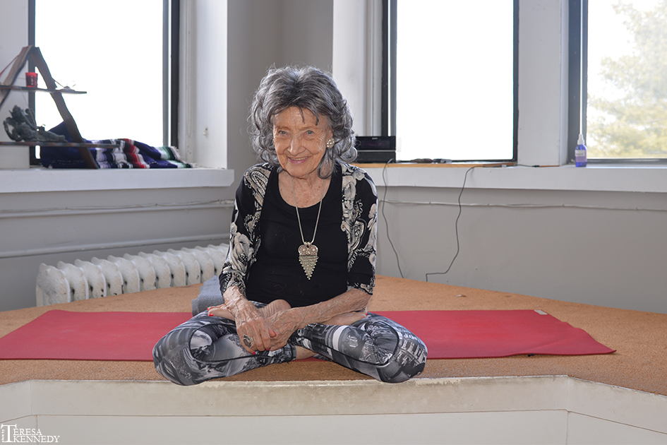 96-year-old Yoga Master Tao Porchon-Lynch teaching at YogaWorks in Ivington