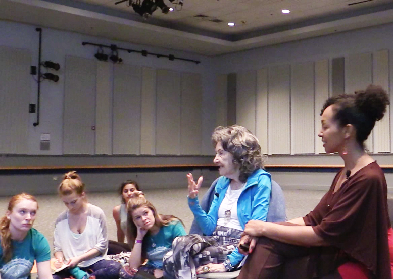 96-year-old Yoga Master Tao Porchon-Lynch with Teresa Kay-Aba Kennedy at the University of Delaware on May 3, 2015