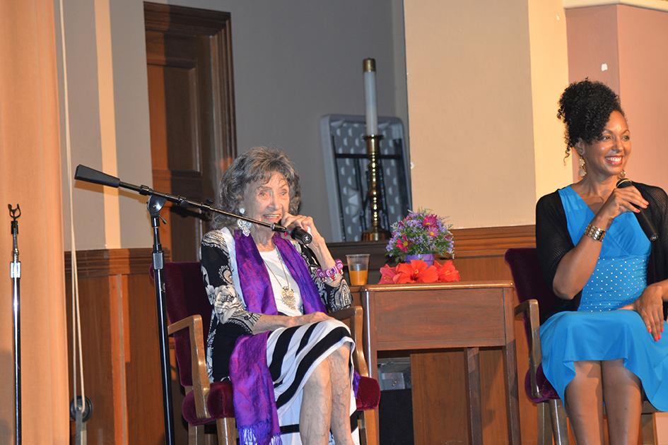 97-year-old yoga master Tao Porchon-Lynch and Teresa Kay-Aba Kennedy at