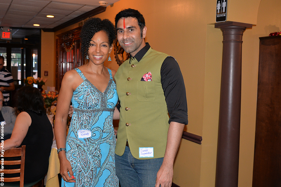 Teresa Kay-Aba Kennedy and Sandip Soparrkar at Yoga Master Tao Porchon-Lynch's 98th Birthday Party in White Plains, NY - August 7, 2016