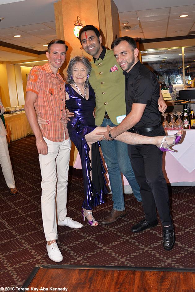 Vard Margaryan, Anton Bilozorov and Sandip Soparrkar with Yoga Master Tao Porchon-Lynch at Tao's 98th Birthday Party in White Plains, NY - August 7, 2016