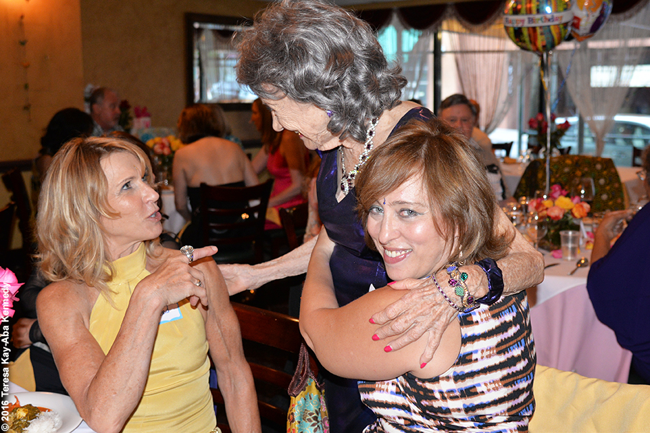 Yoga Master Tao Porchon-Lynch and Susan Douglass at Tao's 98th Birthday Party at the Taj Palace Restaurant in White Plains, NY - August 7, 2016