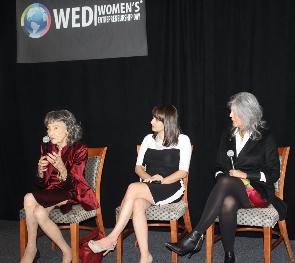 98-year-old yoga master Tao Porchon-Lynch, Rachel Gerrol and Joan Hornig at Women's Entrepreneurship Day at the United Nations in New York - November 18, 2016