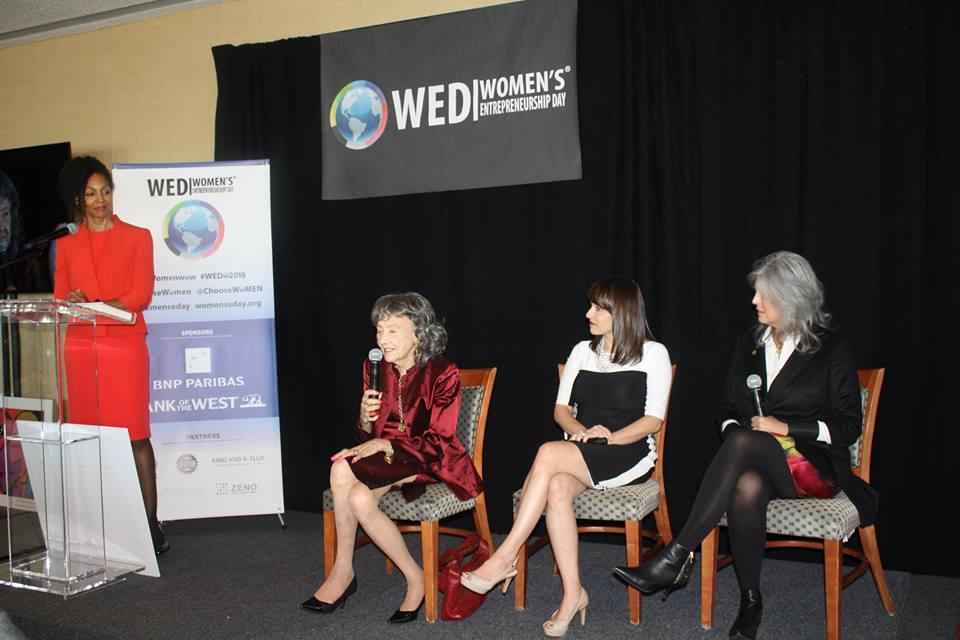 Teresa Kay-Aba Kennedy, 98-year-old yoga master Tao Porchon-Lynch, Rachel Gerrol and Joan Hornig at Women's Entrepreneurship Day at the United Nations in New York - November 18, 2016