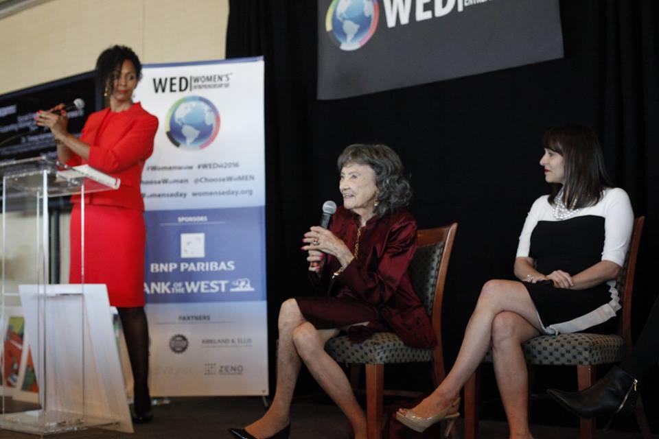 Teresa Kay-Aba Kennedy, 98-year-old yoga master Tao Porchon-Lynch and Rachel Gerrol at Women's Entrepreneurship Day at the United Nations in New York - November 18, 2016