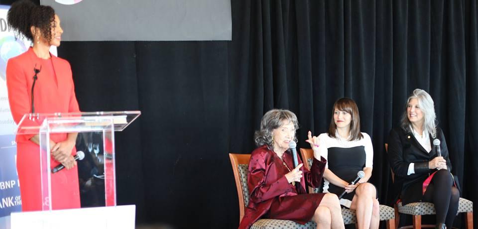 Teresa Kay-Aba Kennedy, 98-year-old yoga master Tao Porchon-Lynch, Rachel Gerrol and Joan Hornig at Women's Entrepreneurship Day at United Nations in New York - November 18, 2016