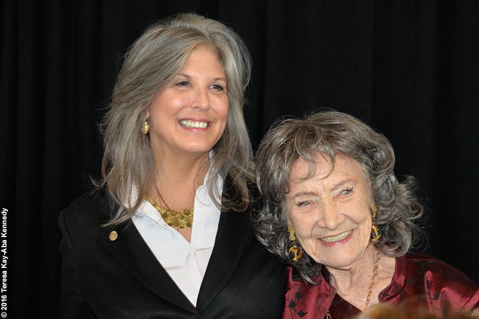 Joan Hornig and 98-year-old yoga master Tao Porchon-Lynch at Women's Entrepreneurship Day at the United Nations in New York - November 18, 2016