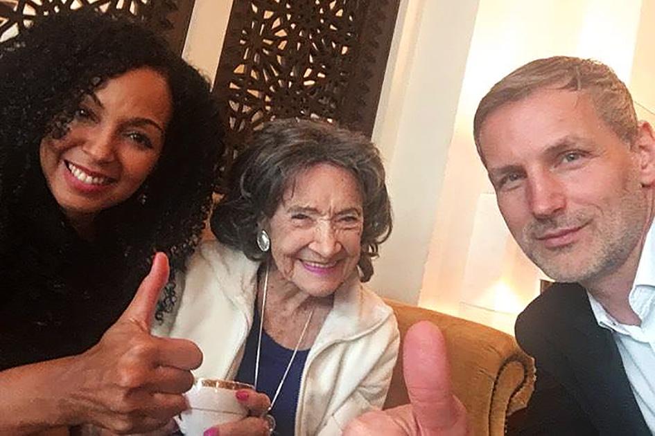 Teresa Kay-Aba Kennedy, 98-year-old yoga master Tao Porchon-Lynch and Matej Cer at Mina A 'Salam Resort in Dubai - February 14, 2017