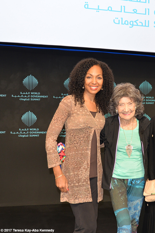 Teresa Kay-Aba Kennedy and 98-year-old yoga master Tao Porchon-Lynch at the World Government Summit in Dubai - February 14, 2017