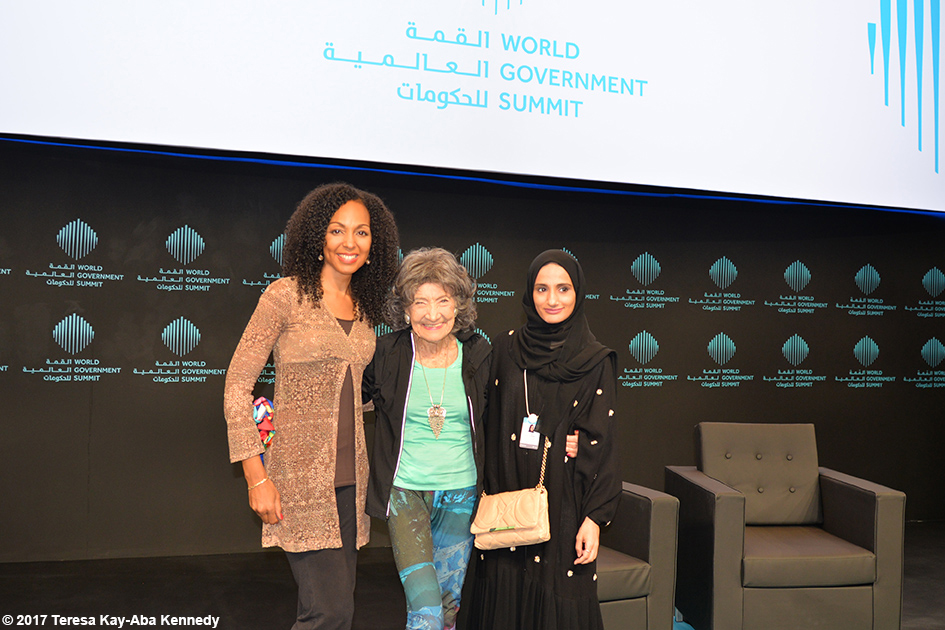 Teresa Kay-Aba Kennedy, 98-year-old yoga master Tao Porchon-Lynch and Reem Baggash at the World Government Summit in Dubai - February 14, 2017