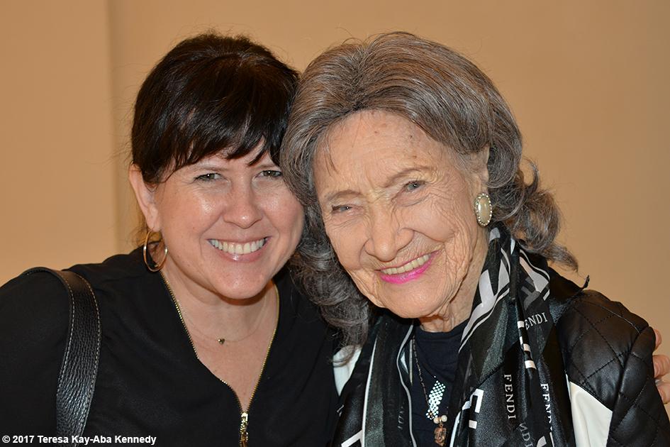 Sherri Skeans and 98-year-old yoga master Tao Porchon-Lynch in lobby of Jumeriah Al Naseem in Dubai - February 11, 2017