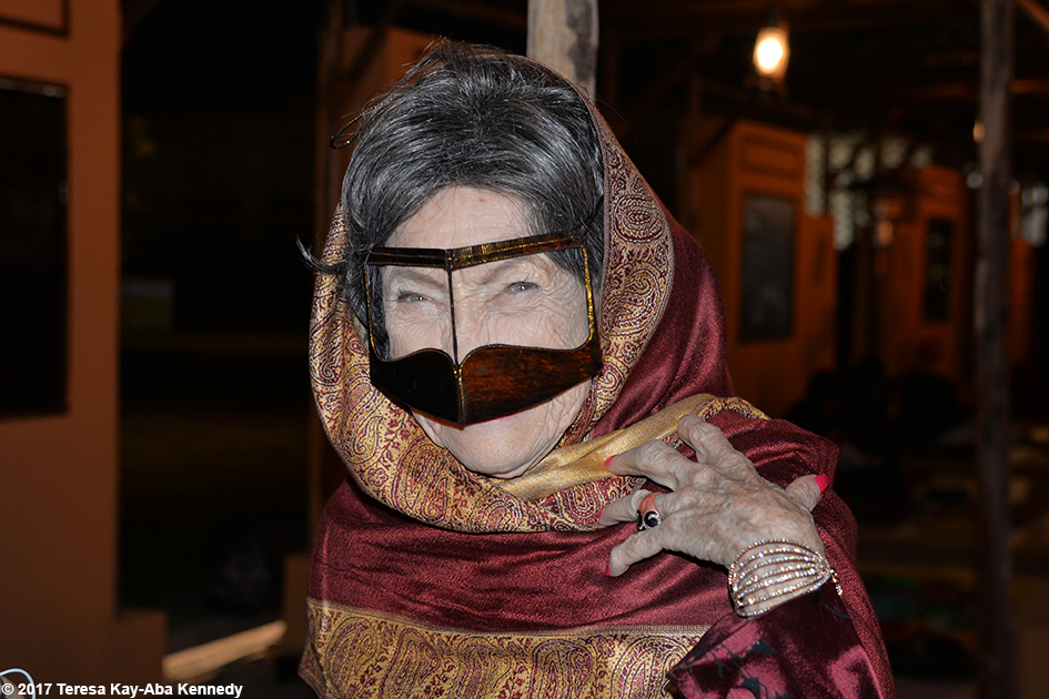 98-year-old yoga master Tao Porchon-Lynch wearing traditional mask at the Ethiad Museum in Dubai - February 11, 2017