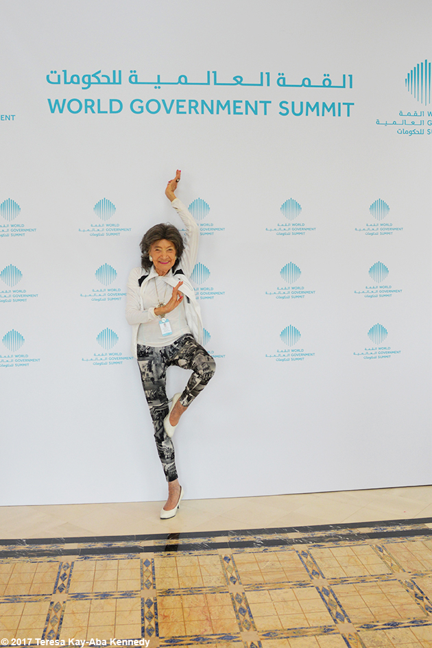 98-year-old yoga master Tao Porchon-Lynch and Teresa Kay-Aba Kennedy at Mina A' Salam in Dubai for World Government Summit - February 13, 2017