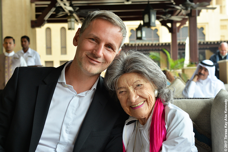 Matej Cer and 98-year-old yoga master Tao Porchon-Lynch at Mina A' Salam in Dubai for World Government Summit - February 13, 2017
