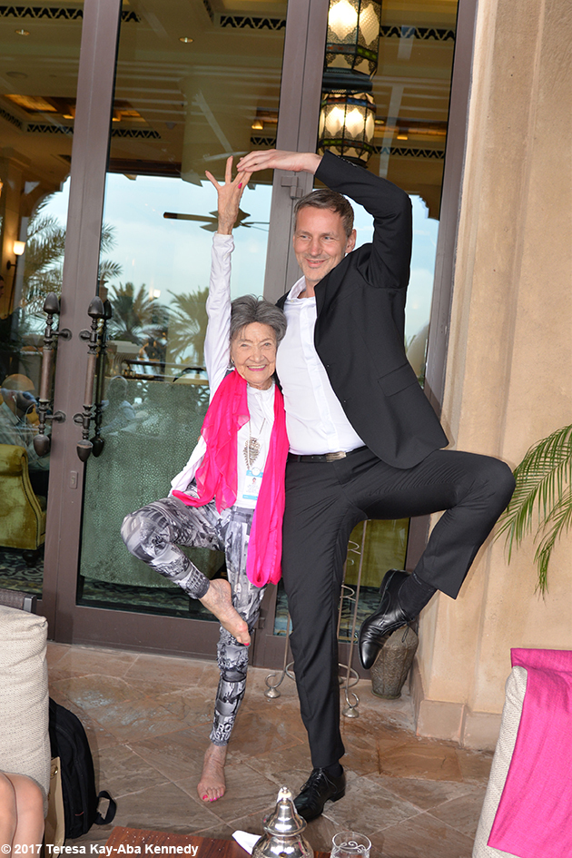 98-year-old yoga master Tao Porchon-Lynch and Matej Cer at Mina A' Salam in Dubai for World Government Summit - February 13, 2017