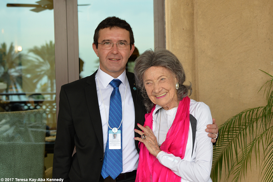 Boris Koprivnikar (Deputy Prime Minister & Minister of Public Administration of the Republic of Slovenia) and 98-year-old yoga master Tao Porchon-Lynch at Mina A' Salam in Dubai for World Government Summit - February 13, 2017