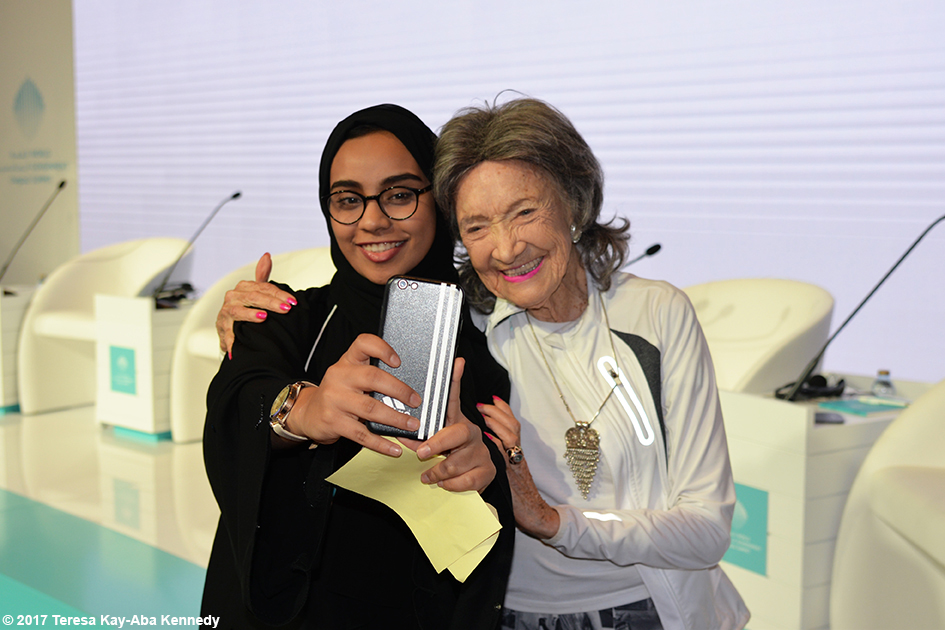 98-year-old yoga master Tao Porchon-Lynch at World Government Summit in Dubai - February 13, 2017