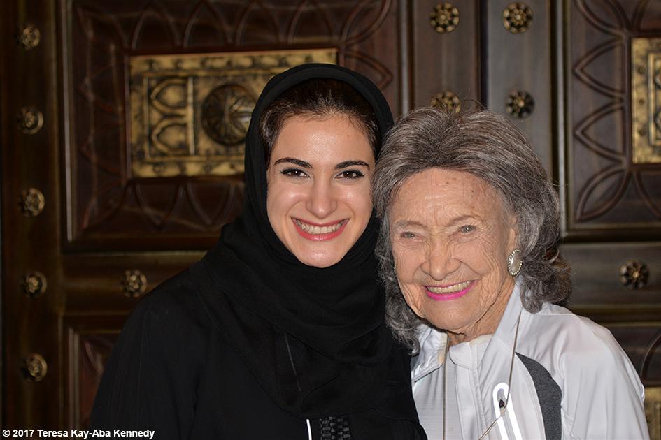 Hana AlHashimi and 98-year-old yoga master Tao Porchon-Lynch at World Government Summit in Dubai - February 13, 2017