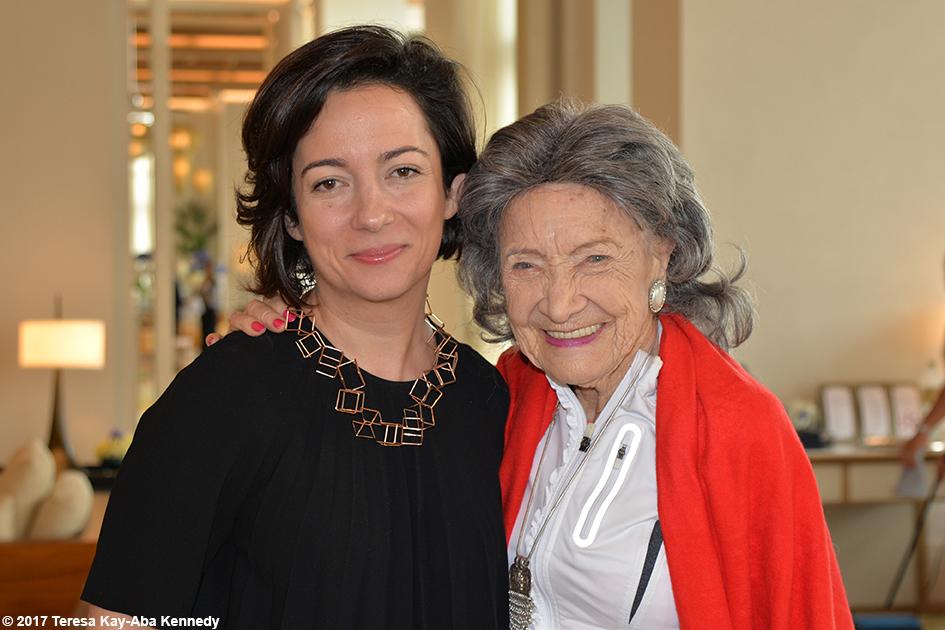 BBC Correspondent Kim Ghattas and 98-year-old yoga master Tao Porchon-Lynch at Jumeriah Al Naseem Resort in Dubai for World Government Summit - February 13, 2017