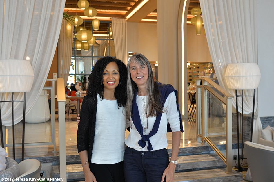 Teresa Kay-Aba Kennedy and 98-year-old yoga master Tao Porchon-Lynch at Jumeriah Al Naseem Resort in Dubai for World Government Summit - February 13, 2017