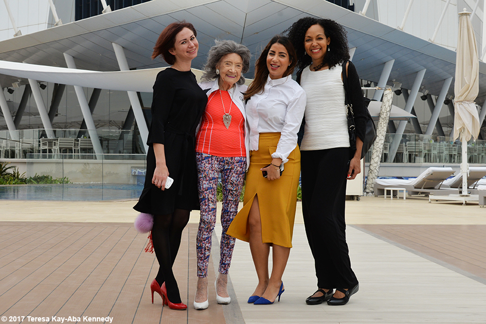 Noor Al Fardan, 98-year-old yoga master Tao Porchon-Lynch, Nina Badri and Teresa Kay-Aba Kennedy at Burj Al Arab in Dubai - February 13, 2017