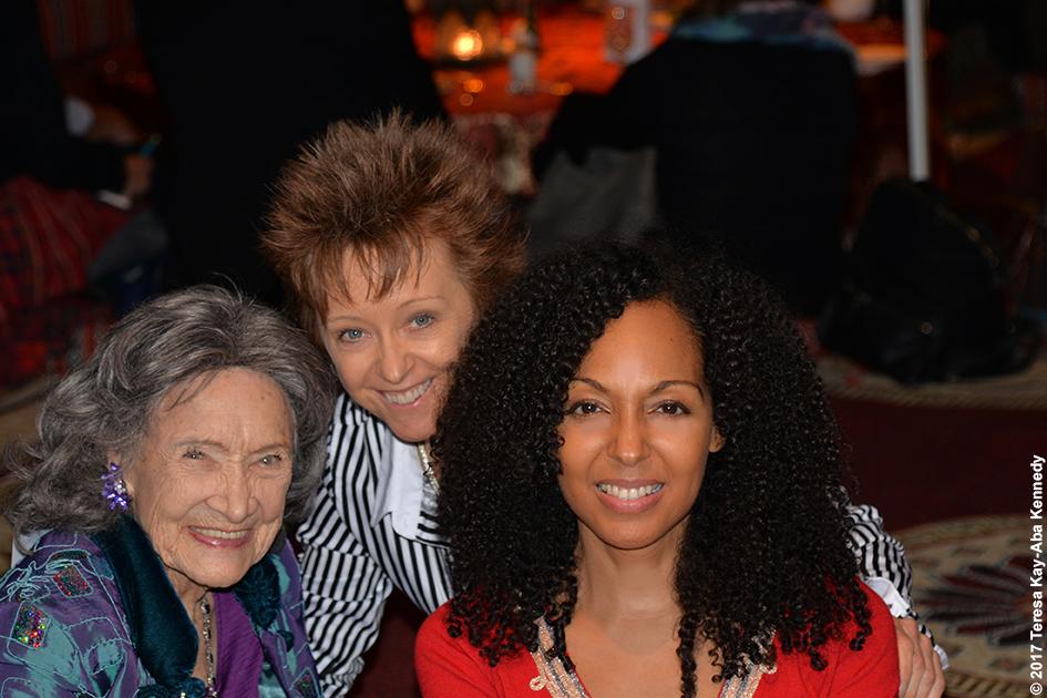 98-year-old Tao Porchon-Lynch, Paula Felps and Teresa Kay-Aba Kennedy at Bab Al Shams Desert Resort in Dubai during World Government Summit - February 13, 2017