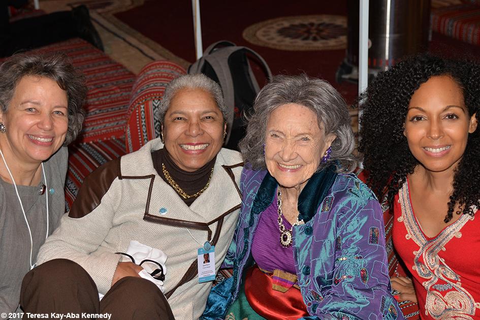 Zarrin Foster, Carol A. Martin, 98-year-old Tao Porchon-Lynch and Teresa Kay-Aba Kennedy at Bab Al Shams Desert Resort in Dubai during World Government Summit - February 13, 2017