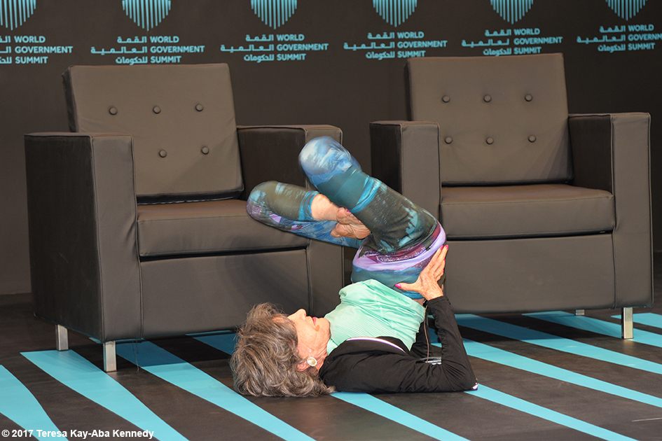 98-year-old yoga master Tao Porchon-Lynch presenting at the World Government Summit in Dubai - February 14, 2017