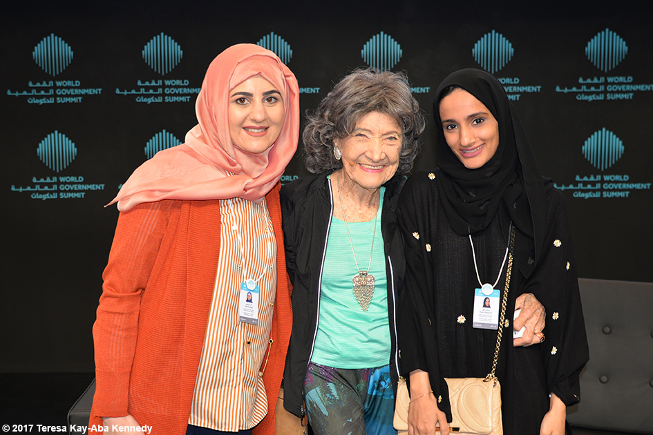 Alaa Ershead, 98-year-old yoga master Tao Porchon-Lynch and Reem Baggash at the World Government Summit in Dubai - February 14, 2017