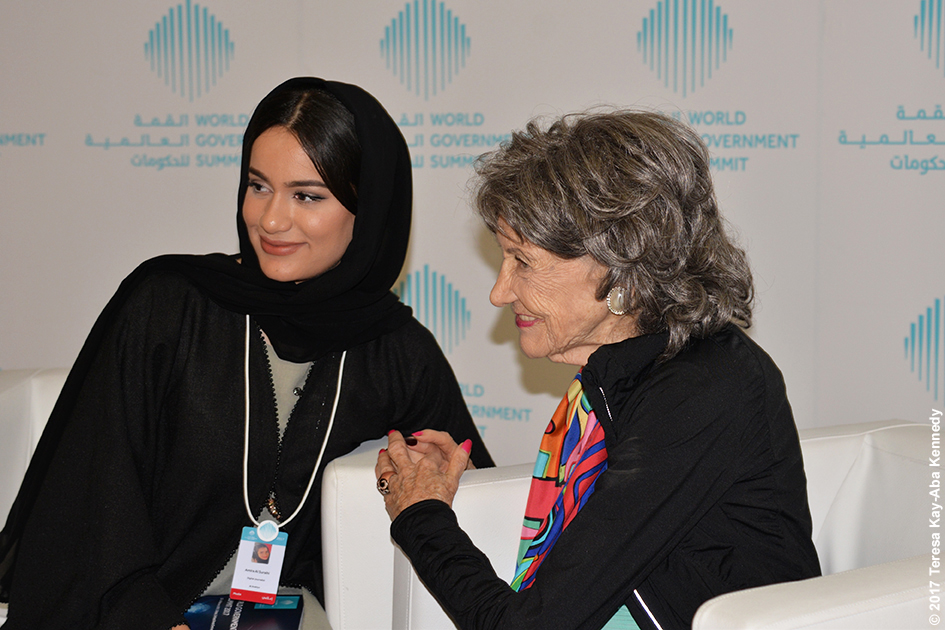 98-year-old yoga master Tao Porchon-Lynch doing media interview during World Government Summit in Dubai - February 14, 2017