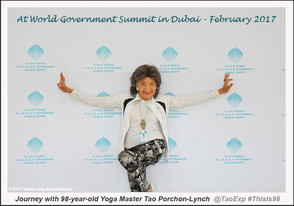 98-year-old yoga master Tao Porchon-Lynch at World Government Summit in Dubai - February 2017