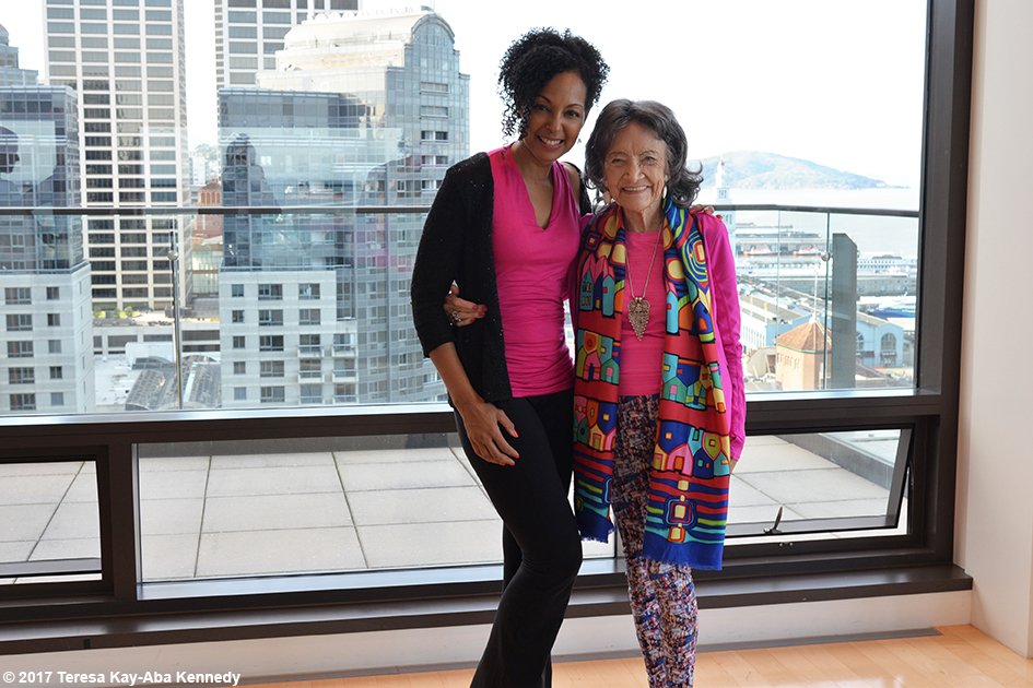 Teresa Kay-Aba Kennedy and 98-year-old yoga master Tao Porchon-Lynch in San Francisco at Athleta's corporate office - March 7, 2017