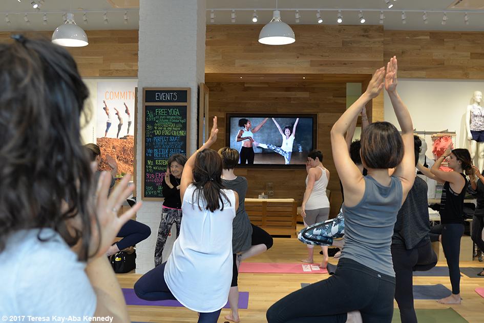 98-year-old yoga master Tao Porchon-Lynch in San Francisco teaching at Athleta store - March 8, 2017