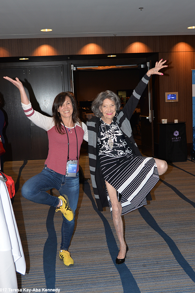 98-year-old yoga master Tao Porchon-Lynch at the LX Conference in San Francisco - April 25, 2017