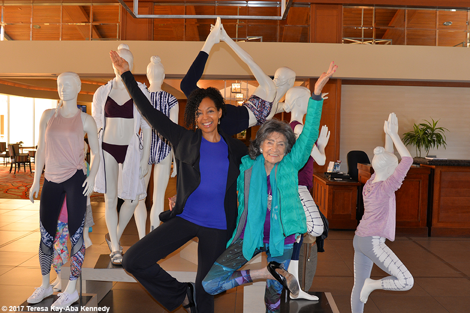 Teresa Kay-Aba Kennedy and 98-year-old yoga master Tao Porchon-Lynch at Hilton Torrey Pines in San Diego - March 9, 2017