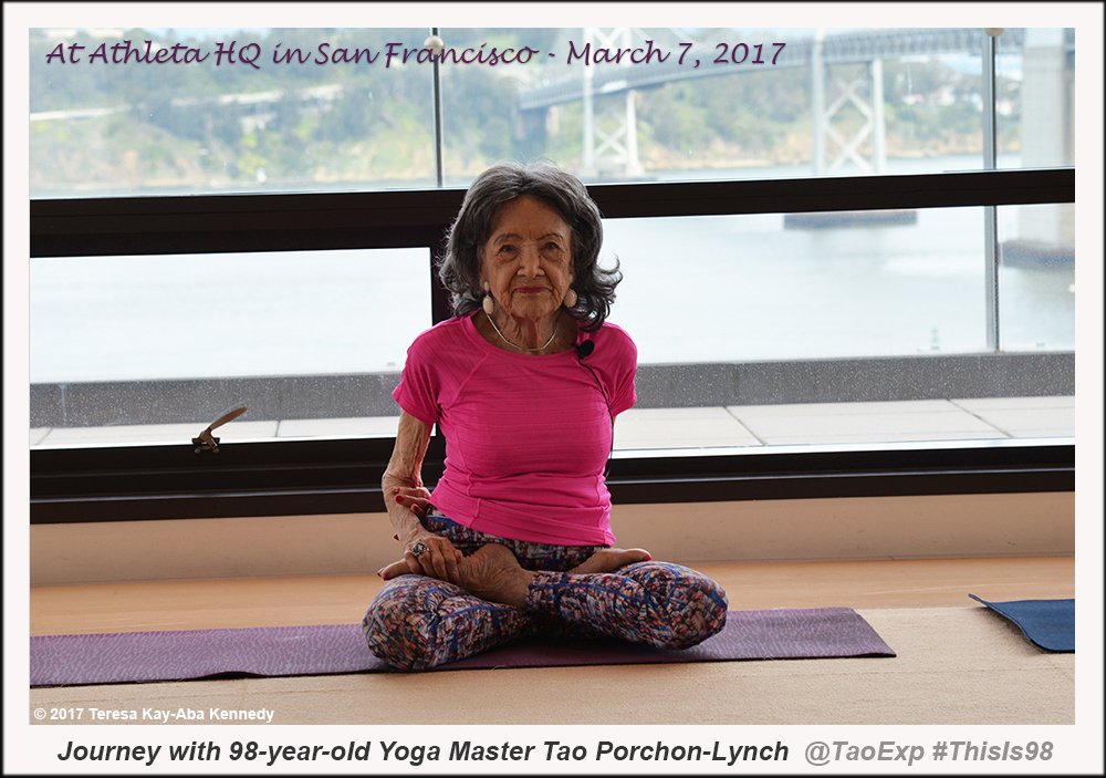 98-year-old yoga master Tao Porchon-Lynch in San Francisco leading program at Athleta's corporate office - March 7, 2017