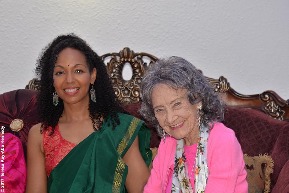 Teresa Kay-Aba Kennedy and 98-year-old yoga master Tao Porchon-Lynch before the Yoga Ratna Awards in Bangalore, India - June 20, 2017