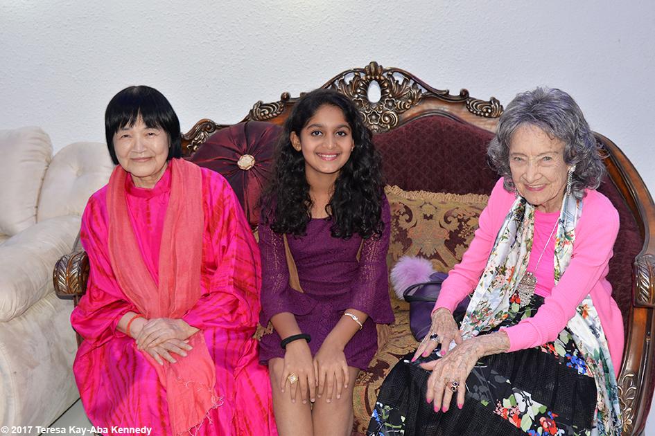 Yogmata Keiko Aikawa, Aarya Prabhu and 98-year-old yoga master Tao Porchon-Lynch before the Yoga Ratna Awards in Bangalore, India - June 20, 2017