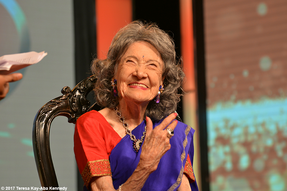 98-year-old yoga master Tao Porchon-Lynch receiving Yoga Ratna Award in Bangalore, India - June 20, 2017