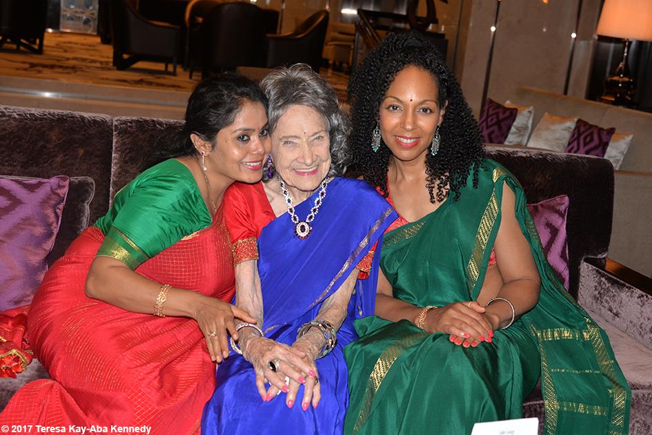 Anuradha Prabhu, 98-year-old yoga master Tao Porchon-Lynch and Teresa Kay-Aba Kennedy in Bangalore, India - June 20, 2017